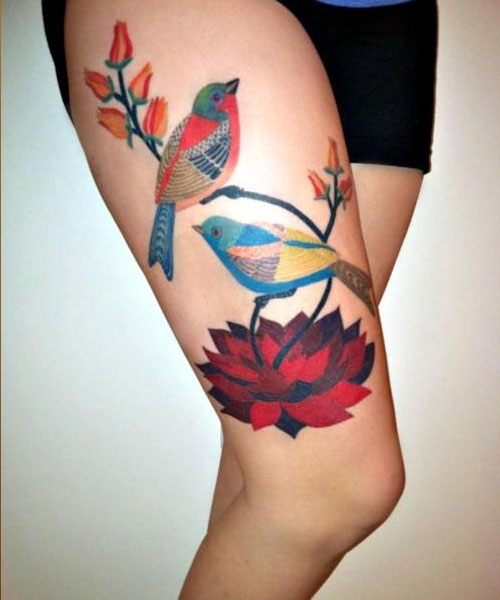 elegant bird tattoo gennine art thigh tattoo