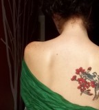 elegant bird tattoo red flowers back shoulder tattoo