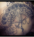 fan tattoo black ornamented fan
