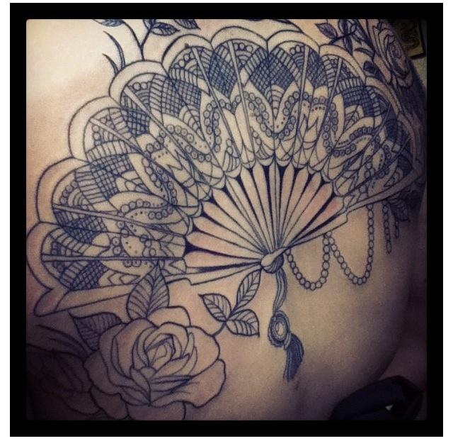 fan tattoo black ornamented fan