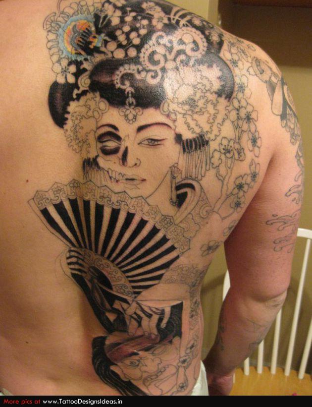 fan tattoo freaky geisha
