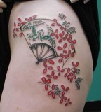 fan tattoo japanese flowers