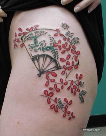 fan tattoo japanese flowers