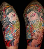 fan tattoo japanese woman