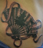 fan tattoo realistic asian fan