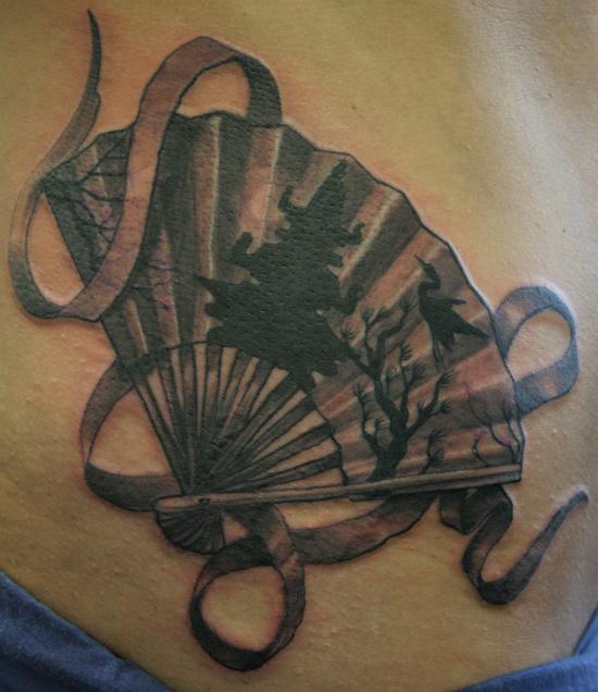 fan tattoo realistic asian fan