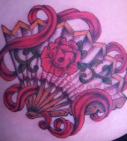 fan tattoo red fan with flower