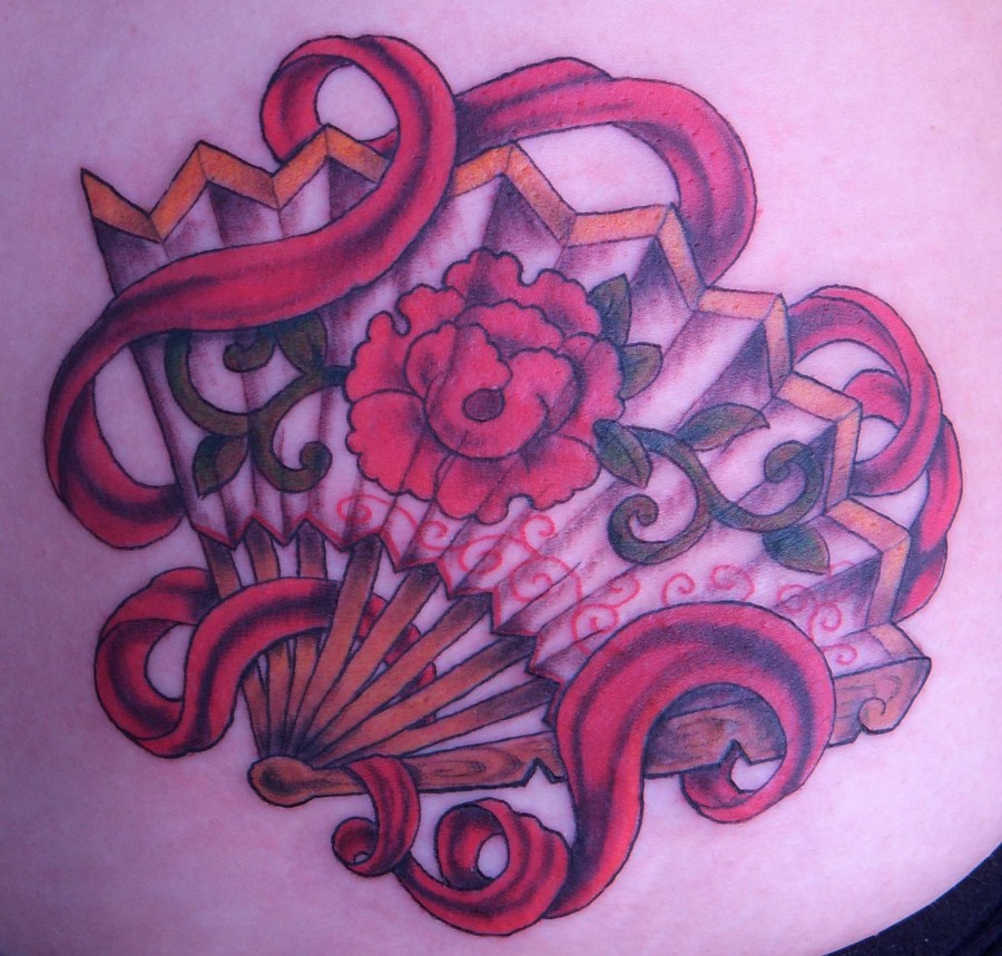 fan tattoo red fan with flower