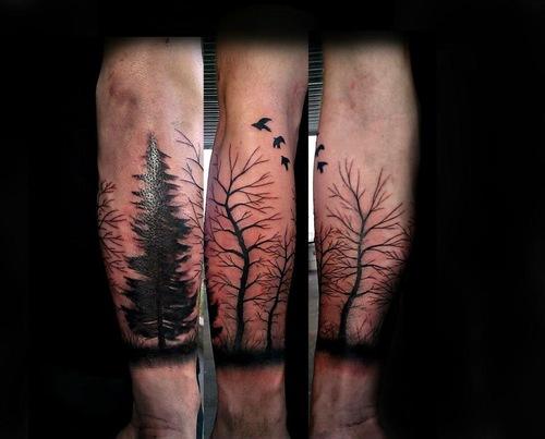 realistic tattoo trees birds black work