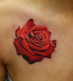red ink tattoo realistic rose