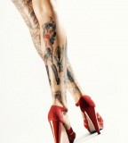 rockabilly tattoo full legs tattoo red high heels