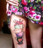 rockabilly tattoo tea cups and cherries