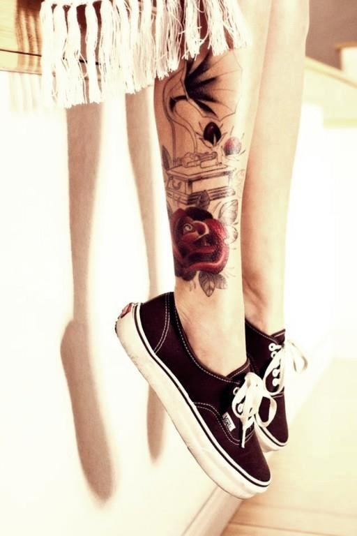 rockabilly tattoo vintage gramophone and rose