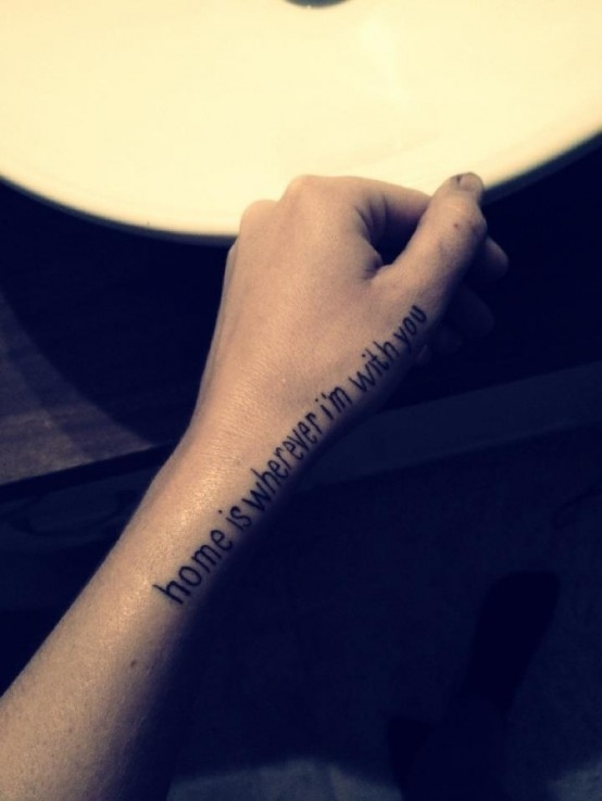 song lyric tattoo home is wherever i'm with you