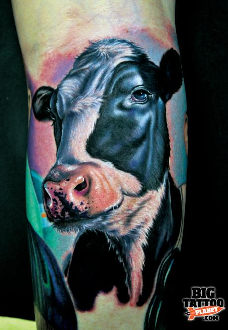 tattoo by Mike DeVries cow