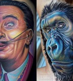 tattoo by Mike DeVries dali monkey