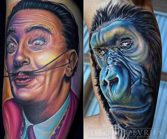 tattoo by Mike DeVries dali monkey