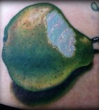 tattoo by Mike DeVries realistic pear