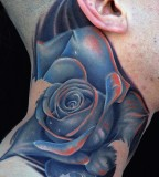 tattoo by Mike DeVries rose neck tattoo