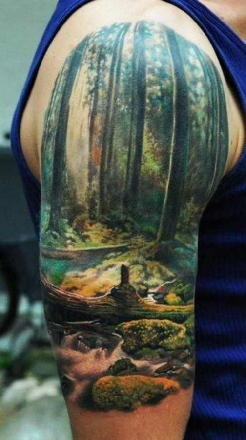tattoo design for men beautiful nature sleeve