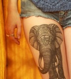 thigh tattoo elephant