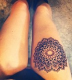 thigh tattoo mandala