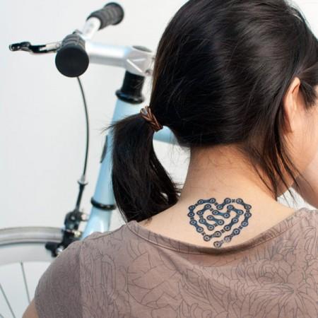 travel tattoo bike chain heart