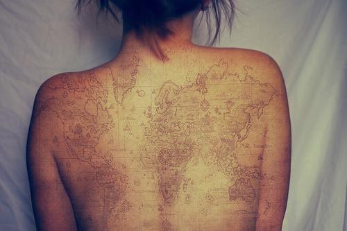travel tattoo world map