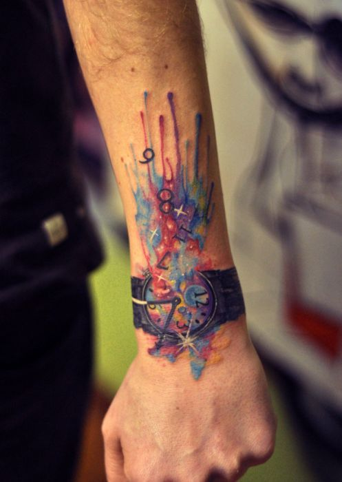 watercolor tattoo design explosion