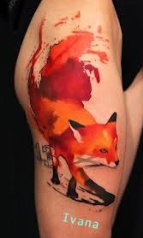 watercolor tattoo design fox