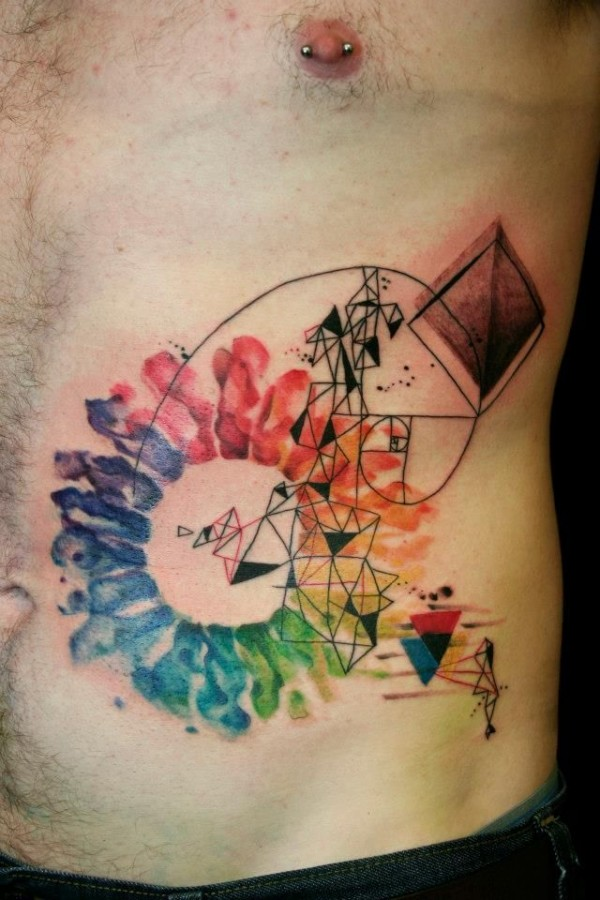 watercolor tattoo design geometric