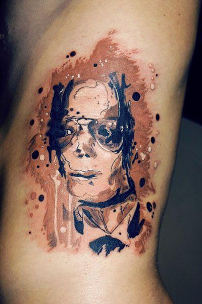 watercolor tattoo design michel jackson