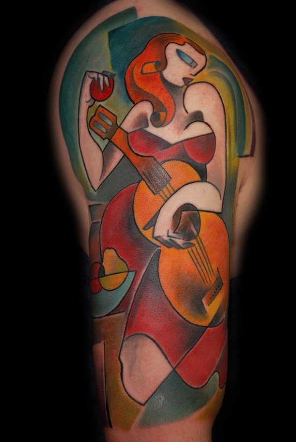 beautiful lady in red playing the guitar tattoo by bugs