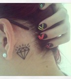 behind ear tattoo diamond