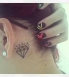 behind ear tattoo diamond