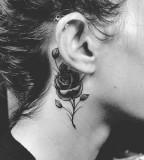 behind ear tattoo rose