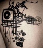 blackwork music tattoo