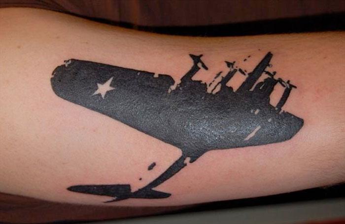 blackwork tattoo aviation