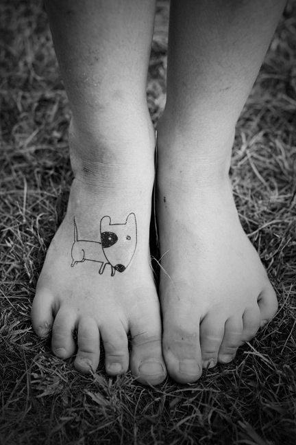 blackwork tattoo dog sketch