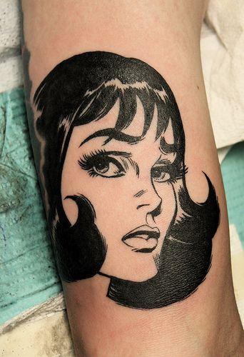blackwork tattoo girls face
