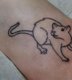 blackwork tattoo rat