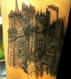 buildings tattoo by black and blue
