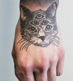 cat tattoo eye pyramid