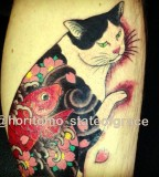 cat tattoo oriental