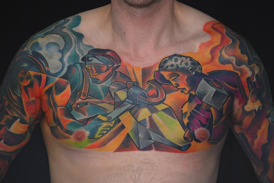 chest tattoo by bugs working class men