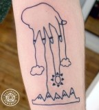 childlike drawing mountains and hand tattoo