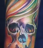 colorful pastel skull tattoo