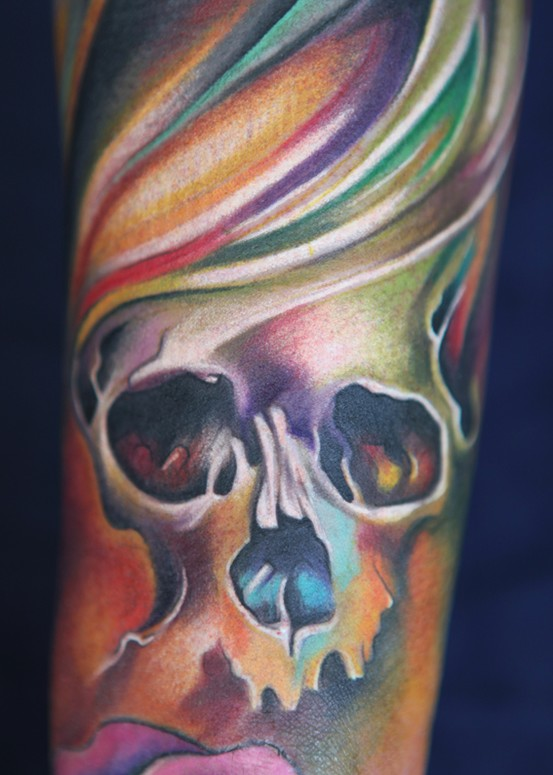 colorful pastel skull tattoo