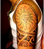 crazy sun tattoo design for men