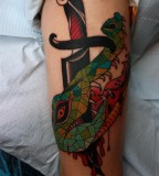 crocodile dagger tattoo by jimmy duvall